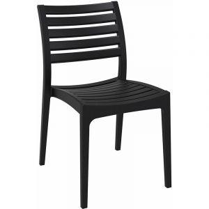 Chaise de jardin en plastique Ares noir - CLP