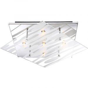 Éclairage plafonnier luminaire plafond lampe verre clair rayures blanches G9 - GLOBO