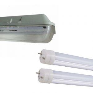 Silamp - Kit de Réglette LED étanche Double pour Tubes T8 150cm IP65 (2 Tubes Néon lumineuse LED 150cm T8 50W inclus) - Blanc Neutre 4000K - 5500K