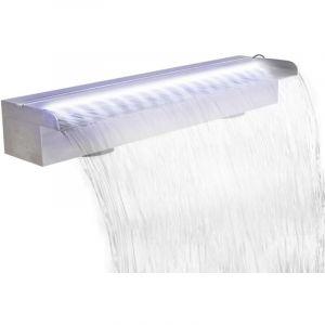 Lame d'eau rectangulaire à LED 60 cm en acier inoxydable pour piscine - VIDAXL