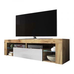 Selsey BIANKO - Meuble TV / Banc TV (140 cm, chêne lancaster / blanc brillant, éclairage LED)