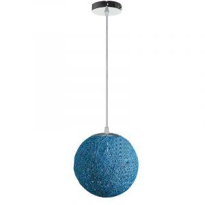 STOEX Rétro Suspension Luminaire en Rotin Globe Rond 20cm, Lustre Abat-jour DIY Lampe Plafond E27 pour Salon Restaurant Centre commercial Bar - Bleu