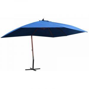 Parasol suspendu avec mât en bois 400x300 cm Bleu HDV45691 - Hommoo