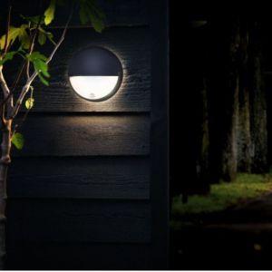 Silamp - Applique Murale LED Ronde Noire 14W avec Détecteur de Mouvement IP54 - Blanc Neutre 4000K - 5500K