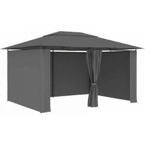 Hommoo Tonnelle de jardin avec rideaux 4 x 3 m Anthracite HDV46228