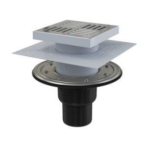 Siphon de sol, sortie verticale Ø75/50 mm, grille en inox – 150x150mm, APV4444 - ALCAPLAST