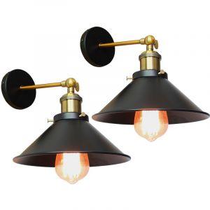 2PCS Applique Murale Métal Style Parapluie 22cm Noir E27, Lampe Rétro Plafonnier Industrielle Eclairage Suspension Luminaire, (Ampoule non compris) - STOEX