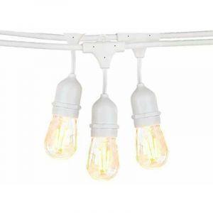 Guirlande Guinguette Blanche Suspendue IP65 6m pour 10 Ampoules E27 - OPTONICA