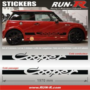 2 stickers MINI COOPER 197 cm - NOIR - Run-R Stickers