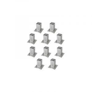 Support pied de poteau bois 70x70 / 7x7 à fixer galvanisé à chaud Lot de 10