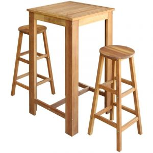 Table et tabourets de bar 3 pcs Bois d'acacia massif - VIDAXL