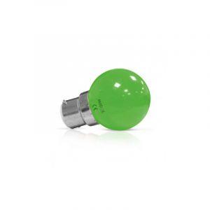 LOT de 2 ampoules 1W LED (éq 9W) Culot B22 - VERT - Angle 240° - VISION-EL