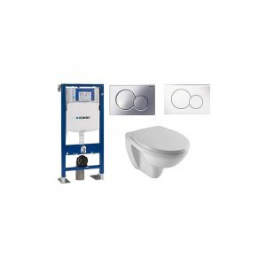 Bati support wc Geberit cuvette Patio Jacob delafon , Abattant standard, Plaque chromée