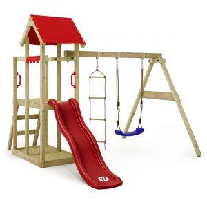 Balançoire WICKEY TinyPlace aire de jeux avec toboggan rouge, balançoire et bac à sable