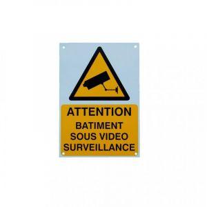 Panneau extérieur 'ATTENTION BÂTIMENT SOUS VIDÉOSURVEILLANCE' - plastique rigide (format A5) - ULTRA SECURE