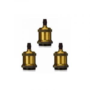 Lot de 3 Edison Douille E27 Spirale DIY Adaptateur de Lampe Vintage Rétro pour Lustre Suspension - STOEX