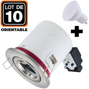Lot 10 Supports Spots BBC Orientable INOX + Ampoule GU10 7W Blanc Froid + Douille - EUROPALAMP