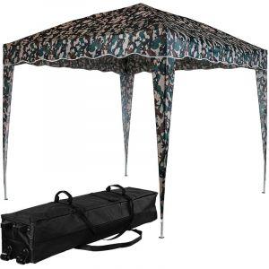 ® Structure de tonnelle pliante 3x3m acier , couleur camouflage, avec sac de transport à roulettes - Instent