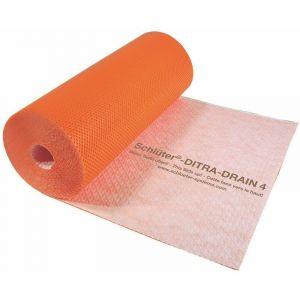 Natte de désolidarisation et de drainage en polyéthylène DITRA-DRAIN - La coupe de 1 M de large - Prix au M2 - SCHLUTER