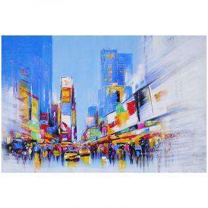 Tableau peinture à huile, Times Square, peint à la main à 100%, toile de décoration murale XL ~ 120x80cm - HHG