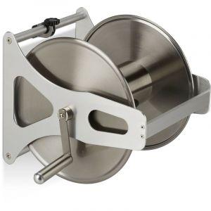 Enrouleur pour tuyau métal, Dévidoir vide, acier inoxydable & aluminium, sol & mur, 30,5x45x36,5 cm, argenté - RELAXDAYS