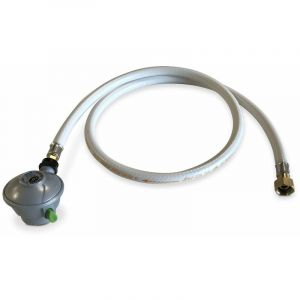 Kit Tuyau flexible de gaz 1,5 m à embouts mécaniques + Détendeur Quick-on Ø27mm Butane 28mbar 1,3kg/h, raccord rapide – Normes NF - ALICE'S GARDEN
