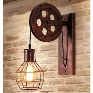 Applique Creative style industriel rétro lampe de mur Loft style levage poulie lumière canal couloir mur lampe?Rouille rouge - STOEX