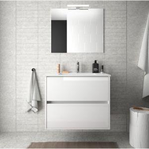 Meuble de salle de bain suspendu 70 cm blanc laque avec lavabo en porcelaine   Avec colonne, miroir et lampe LED