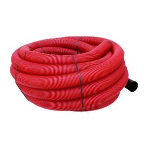 Gaine TPC annelée-lisse rouge EDF O160 en 50m avec tire-fil - HEGLER