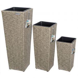 Set de 3 pots de fleurs crème polyrotin pot intérieur amovible design élégant - DEUBA