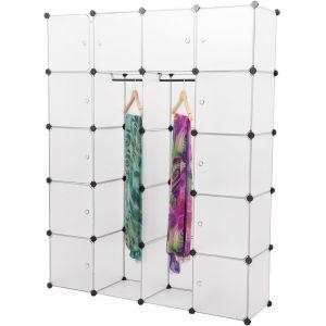 vestiaire à 12 compartiments système d'étagères (180 x 145 x 37cm) (blanc) étagère en PP étagère pliable étagère à vêtements étagère à linge blanc avec deux compartiments - [NEU.HOLZ]