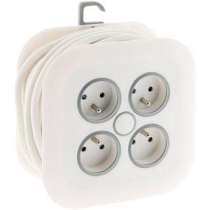 Enrouleur domestique 4x 16A 2P+T à fiche extraplate 3G1mm² - 7m Blanc - Zenitech