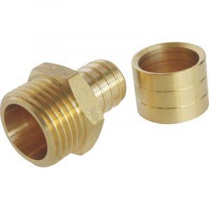 Somatherm For You - Raccord droit à glissement pour tube PER Ø16 - Mâle 15/21 par lot de 10