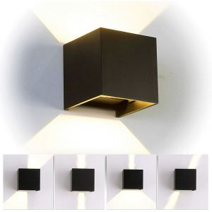 12W Led Applique murale chambre Moderne Interieur, Aluminium luminaires Réglable Lampe Up and Down Design Blanc Chaud pour Chambre Maison Couloir Salon (Noir) - STOEX