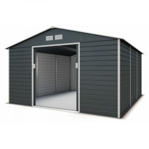 Abri de jardin métal gris 12,27 m2 + kit d'ancrage - TRIGANO