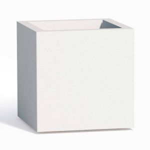 Pot de fleurs Cube en résine Carré H40 Blanc 40x40Cm - IDRALITE