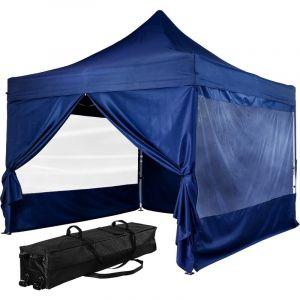 Tonnelle PRO 3x3m, Alu, 4 panneaux inclus, couleur bleu, avec sac de transport à roulettes - Instent
