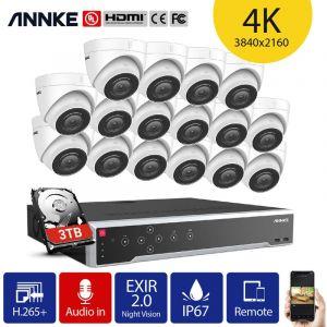 Kit de surveillance SANNCE 4CH 1080P PoE NVR HD 4 Système de caméra de vision nocturne 1080P 2.0 mégapixels intérieur / extérieur – Sans disque dur