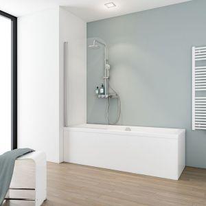 Pare-baignoire rabattable, 80 x 140 cm, verre 5 mm, paroi de baignoire 1 volet, écran de baignoire pivotant, Capri, Schulte, Verre transparent, profilé aspect chromé