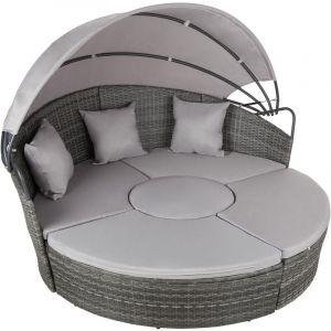Bain de soleil rond modulable, modèle B - chaise longue, transat bain de soleil, transat jardin - gris - TECTAKE