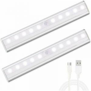 Lampe de Placard USB Rechargeable lampe 10 led detecteur de mouvement pour Cabinet Armoire Penderie Cuisine Couloir Toilettes, Avec Bande Magnetique Adhésive Amovible [2 Pack] (Blanc) - BARES