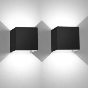2 Pcs 12W LED mur lumière Up Down intérieur mur lampe moderne en aluminium applique murale appareils d'éclairage pour le salon chambre salle de bains cuisine salle à manger,Blanc froid - STOEX