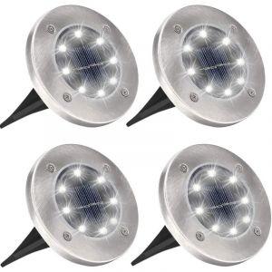 Sunflower - Lampe Spots Solaire Extérieur Jardin, 4Pack 8 LED Lumière Solar Projecteur Éclairage Exterieur IP65 Etanche Sans Fil Inox Spot Luminaire