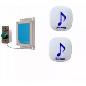 Kit sonnette sans-fil 600m double carillon 35 mélodies (DA-600) bouton autonome haute résistance 'sonnez svp' - ULTRA SECURE