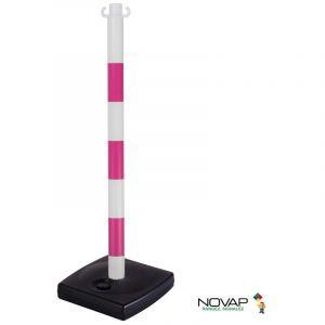 Novap - Poteau PVC Rose FME/Blanc sur socle à lester 4kg - 2002042