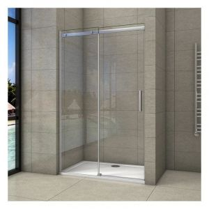 Porte de douche coulissante 130x195cm en 8mm verre anticalcaire porte de douche en niche - AICA SANITAIRE
