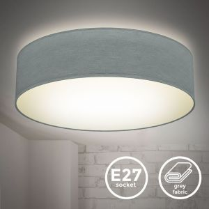 Plafonnier textile gris 2 douilles E27 rond Ø38cm éclairage plafond salon salle à manger chambre  - B.K.LICHT