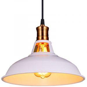 Suspension Vintage Industrielle Lampe de Plafonniers LED Retro Métal Lustre avec Abat-jour Luminaire E27 Eclairage de Plafond Blanc - STOEX