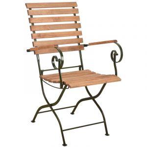 Chaise pliable en bois et métal Vert - ESSCHERT DESIGN