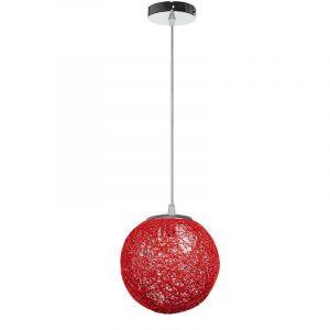 STOEX Rétro Suspension Luminaire en Rotin Globe Rond 20cm, Lustre Abat-jour DIY Lampe Plafond E27 pour Salon Restaurant Centre commercial Bar - Rouge